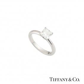 Tiffany & Co. Platinum Princess Cut Diamond Ring 1.05ct G/VVS2